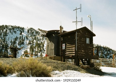 Mt Baldy, California - Feb 4 2020: A chairlift house at the Mt Baldy ski and snowboard resort.