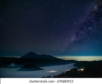 mt. Bromo with star