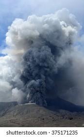 Mt. Bromo volcano  actively  erupts in east Java, Indonesia
