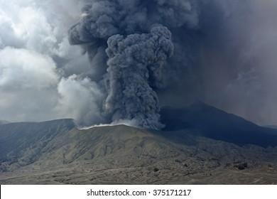Mt. Bromo volcano  erupts in Java, Indonesia