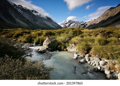 Mt Cook (Aoraki) seen from Hooker Valley in New Zealand on a sunny summer day
