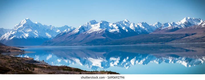 Mt cook national park, heart of Southern Alps, pure blue glacier Lake Pukaki