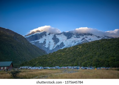 Mt. Cook, New Zealand, Feb 14th, 2019:  Camping car at Hooker Valley track under mt. Aoraki/Mt. Cook, New Zealand.