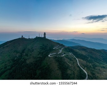 Mt. Dai Mo Shan and weather radar site at dawn
