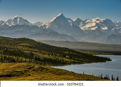 mt denali on clear morning from wonder lake