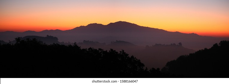 Mt. Diablo dawn panorama taken from Lafayette, California