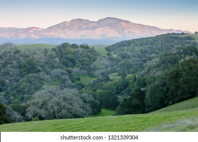 Mt Diablo as seen from Briones Regional Park at Sunset. Martinez, Contra Costa County, California, USA.