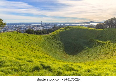 Mt Eden Crater and View to Auckland City, New Zealand