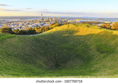 Mt Eden Volcanic Cones and View to Auckland City, New Zealand