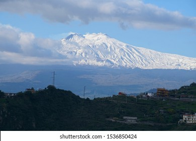 Mt Etna seen from the hills of Taormina, Sicily, Italy