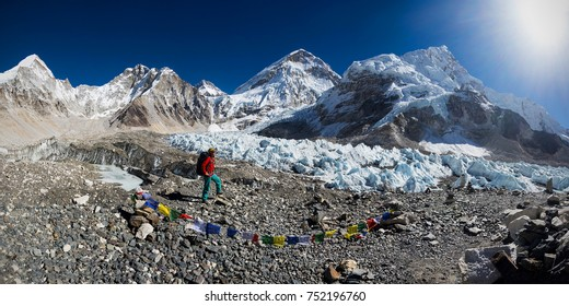 Mt. Everest base camp, Nepal, panoramatic view with young woman