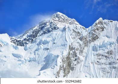 Mt. Everest with a little bit cloud , blue sky and snow ice , took from Kala Patthar , Nepal