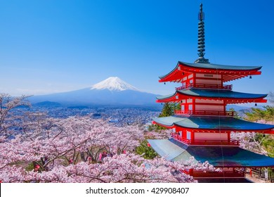Mt Fuji and Cherry Blossom at  Fujiyoshida, Japan