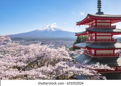 Mt. Fuji with Chureito Pagoda, cherry blossom sakura in Spring, Japan