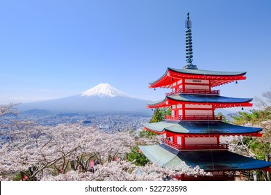 Mt. Fuji with Chureito Pagoda in Spring, Fujiyoshida, Japan