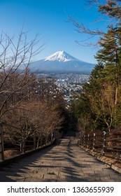 Mt. Fuji at Chureito Pagoda with stair down way