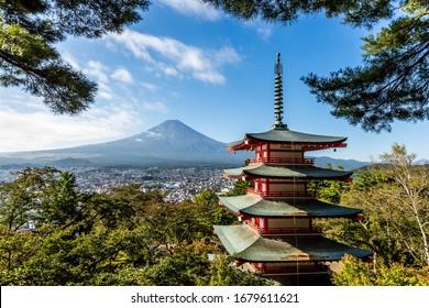 Mt. Fuji and Chureito red pagoda in october, Yamanashi, Japan