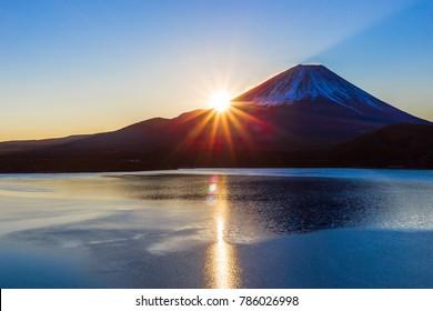 Mt. Fuji at dawn and Lake Motosu