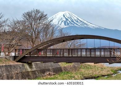 Mt. Fuji in early spring at Kawaguchiko lake landscape at Japan. This is famous Japan mountain.