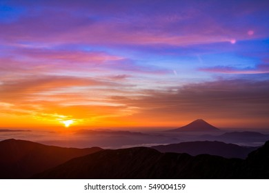 Mt. Fuji Fuji-san from the second highest mountain in JAPAN  the rising sun is breathtaking