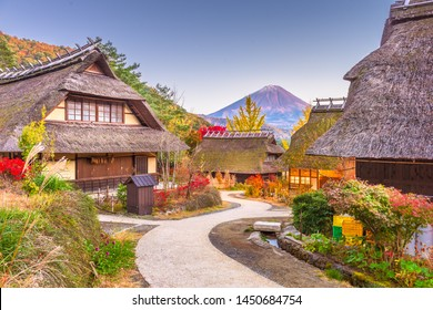 Mt. Fuji, Japan autumn landscape with historic japanese village.