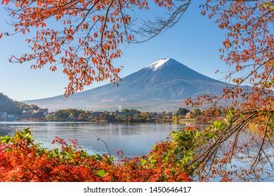 Mt. Fuji, Japan on Lake Kawaguchi with autumn foliage.