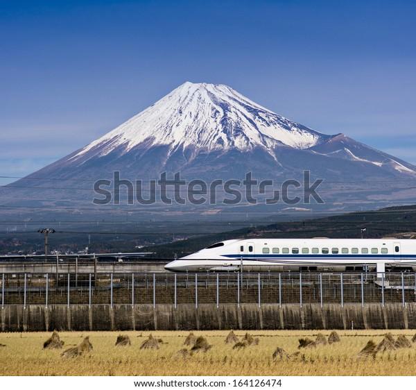 Mt. Fuji in Japan with passing train.