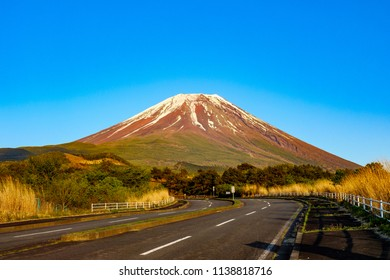 Mt. Fuji in Japan with road at sunset time