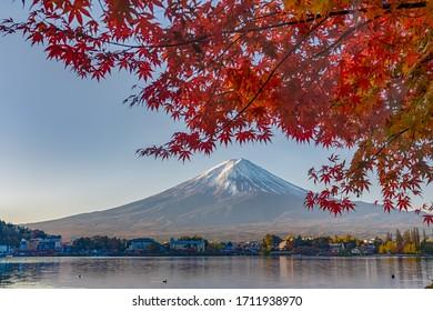 Mt. Fuji in Kawaguchi lake in autumn