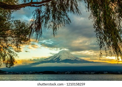 Mt. Fuji with kawaguchiko lake panorama sunset time