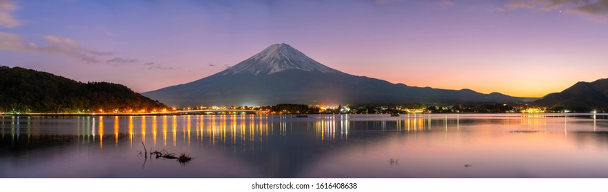 Mt. Fuji is located in Yamanashi Prefecture,Japan. It is good evening with colorful sky. This is panorama picture.