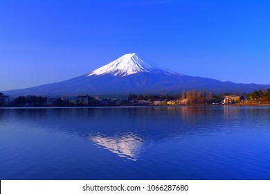 "Mt. Fuji in the Morning with blue sky fine weather from ""Ubuyagasaki"" in Lake Kawaguchi Japan 04/10/2018"