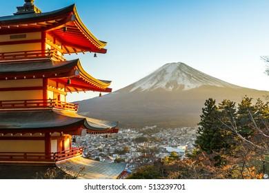 Mt. Fuji with red pagoda in autum, Fujiyoshida, Japan