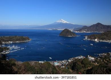 Mt. Fuji seen from Uchiura, Numazu. Uchiura Nagahama Numazu-shi is located in the Prefecture of Shizuoka in the Chubu region in Japan.