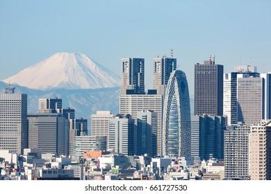 Mt Fuji and Shinjuku.