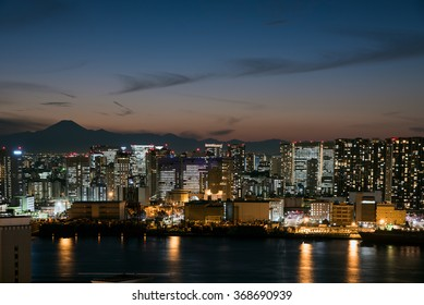Mt. Fuji silhouette at dusk from Tokyo area