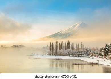 Mt Fuji with snow in winter at lake Kawaguchiko Japan