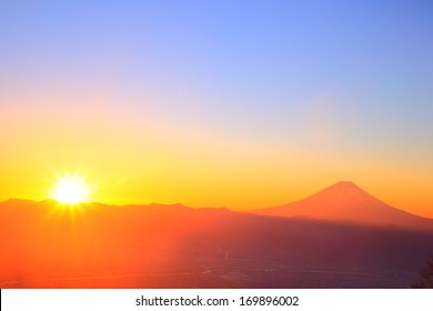 Mt. Fuji with sunrise from Mt. Amari, Yamanashi, Japan