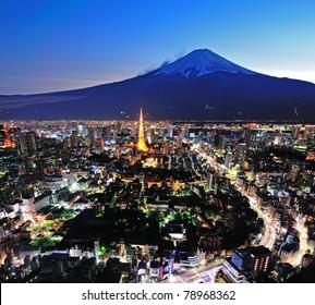 Mt Fuji and Tokyo City in twilight