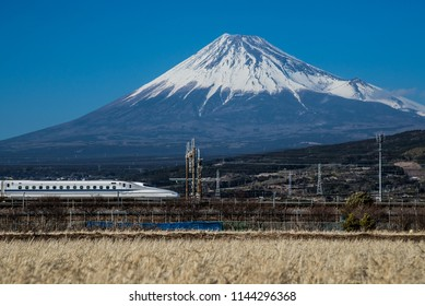 Mt. Fuji and Train Shinkansen