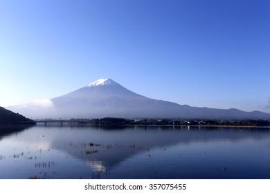 Mt Fuji view from the kawaguchi lake with reflect