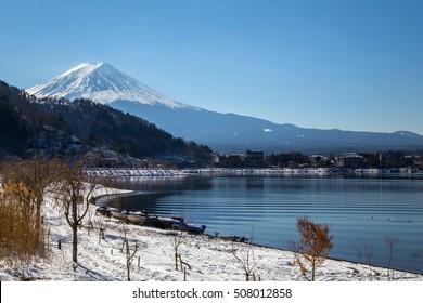 Mt Fuji in winter at lake Kawaguchiko