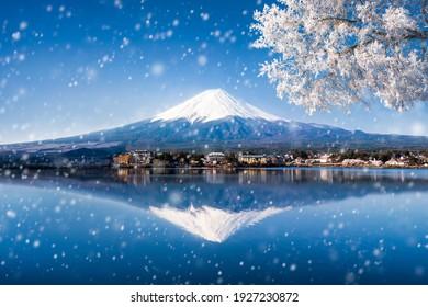 Mt. Fuji in winter seen from Lake Kawaguchiko