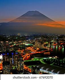 Mt Fuji and Yokohama city