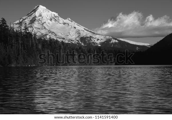Mt Hood Black White Cloud On Stock Photo (Edit Now) 1141591400