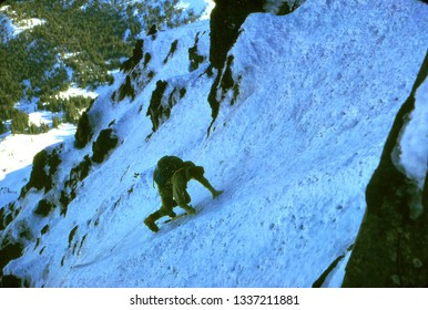 MT HOOD, OR - DEC 14, 2001 - Climber on steep ice of  North Face Route of Mt Hood, Cascade mountain range,Oregon