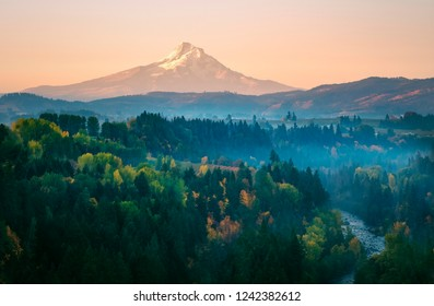 Mt Hood on a hazy autumn morning from the air above the Hood River