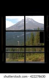 Mt hood oregon through a window frame