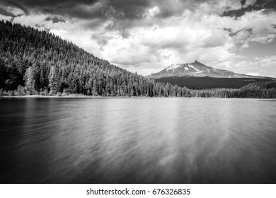Mt Hood Oregon Trillium Lake long exposure during a cloudy day