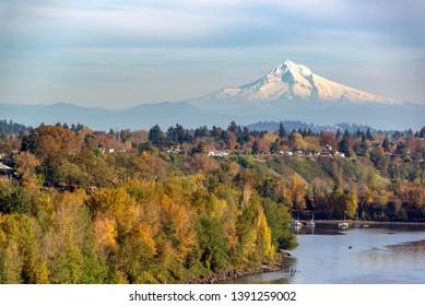 Mt. Hood rising above Portland, Oregon on a beautiful fall day